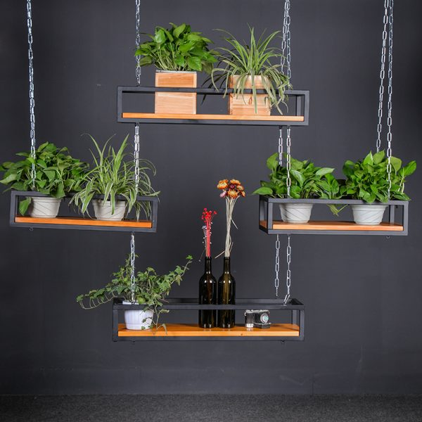 Hanging planter shelves