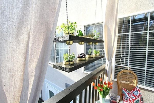 outdoor wooden plant shelves