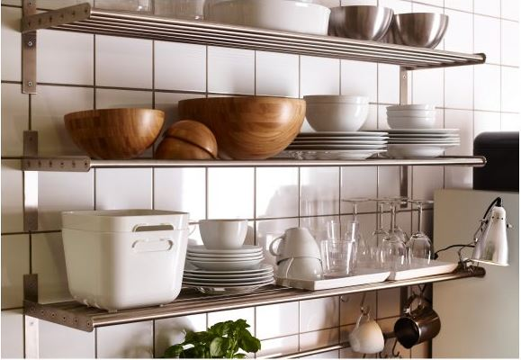 stainless steel open shelving kitchen