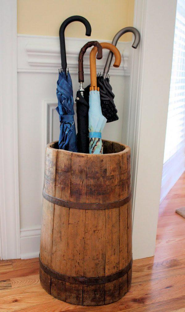 wood indoor umbrella stand