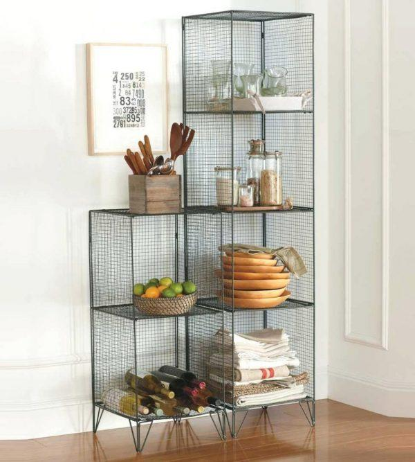 Wire mesh shelves