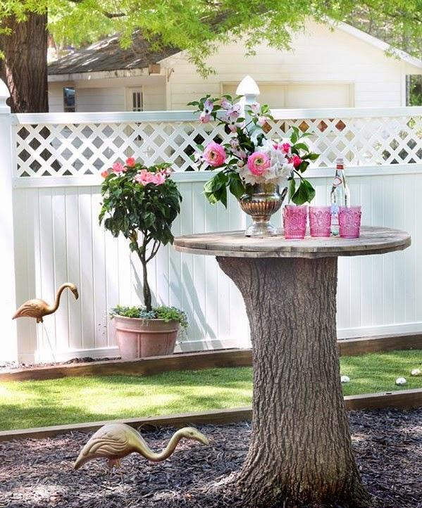 Tree trunk garden decor