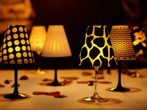 wine glass lamp shades