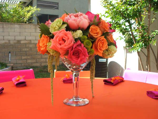 martini glass flower arrangements