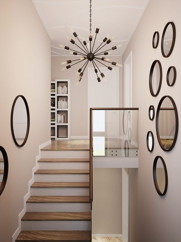 mirror on staircase wall