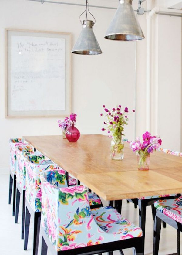 floral fabric dining chairs