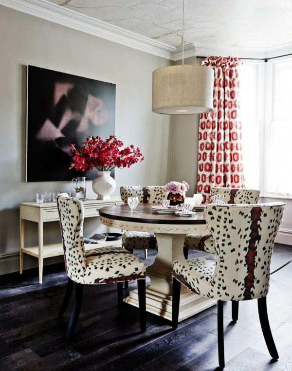animal print dining chairs