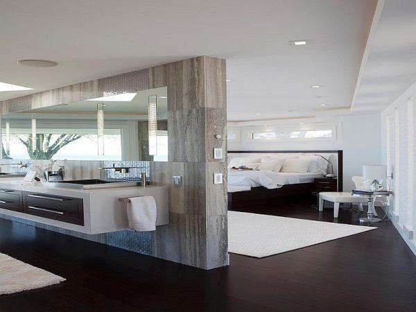 master bedroom and bathroom