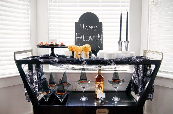 Halloween Bar Cart Decor