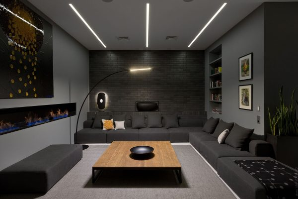 faux brick wall living room