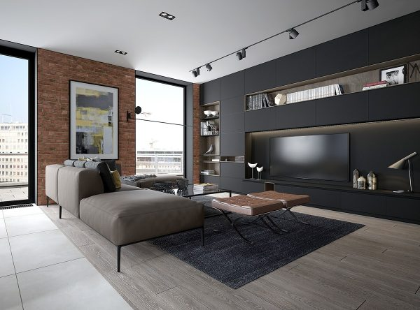 brick accent wall living room