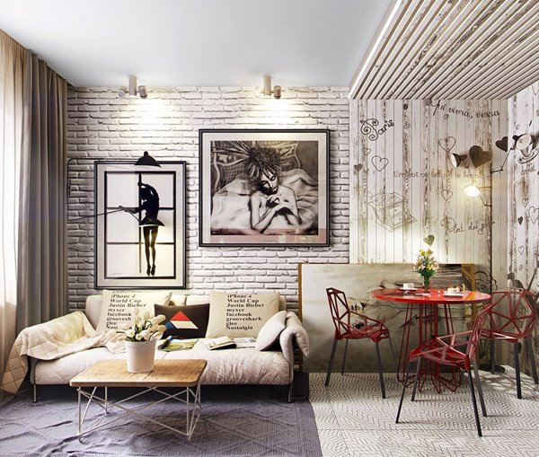 white brick wall living room