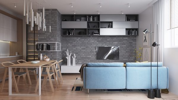 brick wall design living room