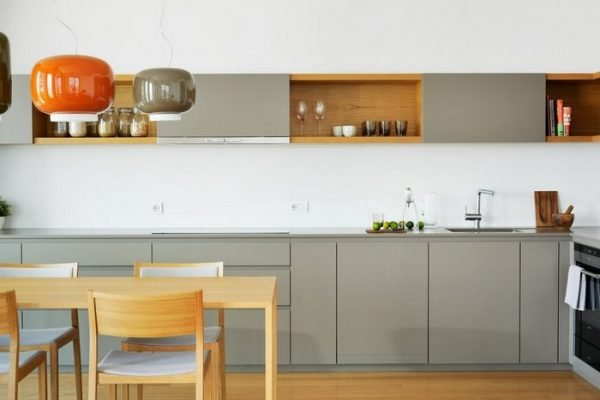 grey handleless kitchen