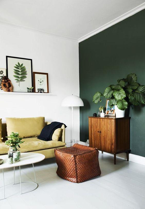 Deep green wall