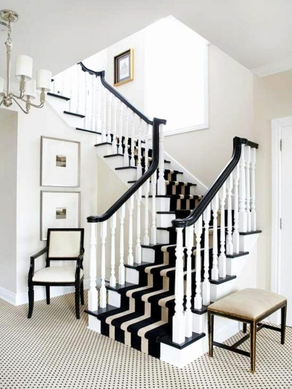 black and white stair runner