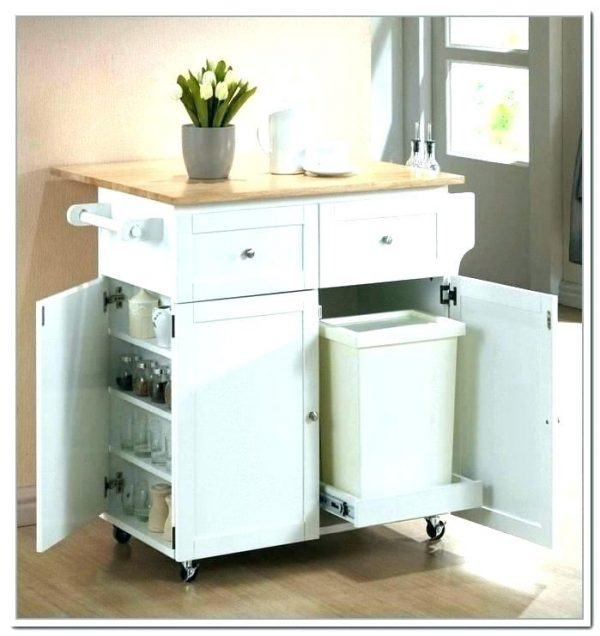 kitchen cart with trash can