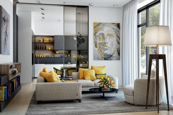 Yellow accents for living room
