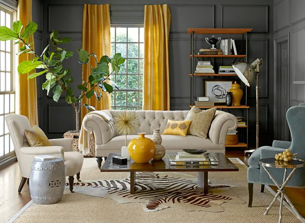 yellow living room decor