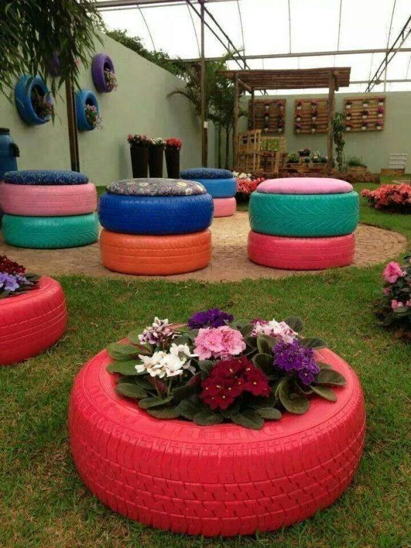 Spring garden and terrace decorating