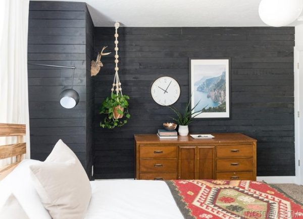 shiplap wall bedroom