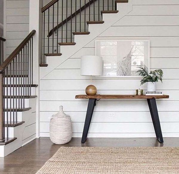 white shiplap wall