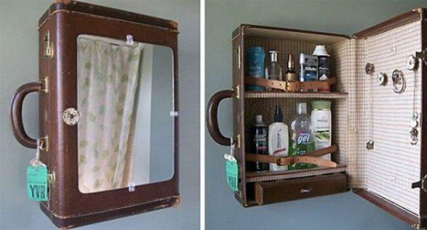 An old suitcase used as washroom drawer