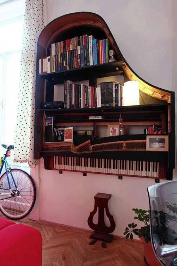 An old piano turned into library