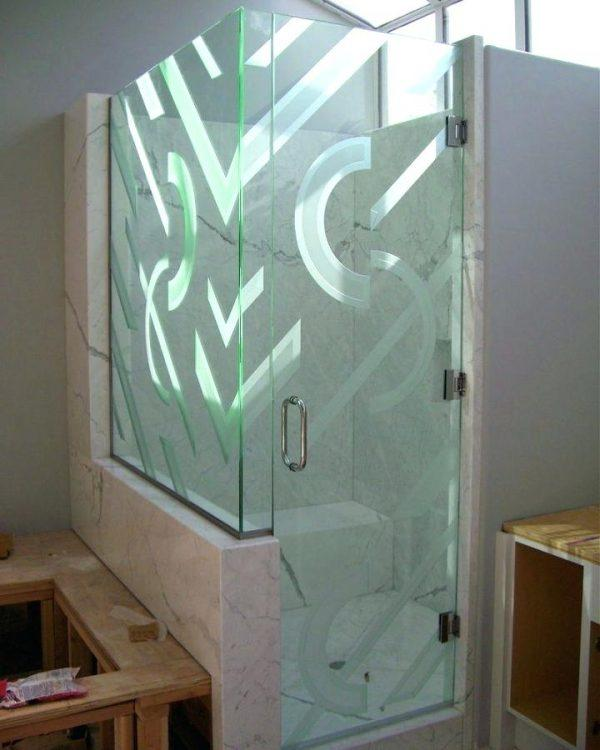 patterned glass shower doors