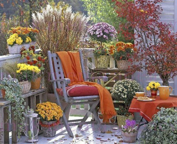 Balcony decoration with beautiful fall flowers