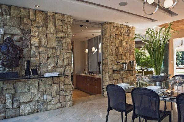 modern stone accent wall