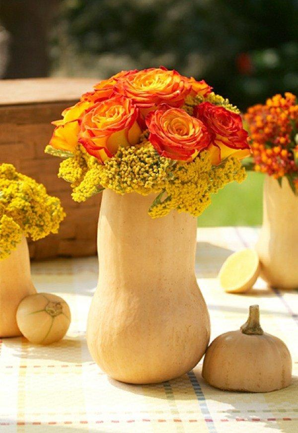 flowers in a pumpkin centerpiece