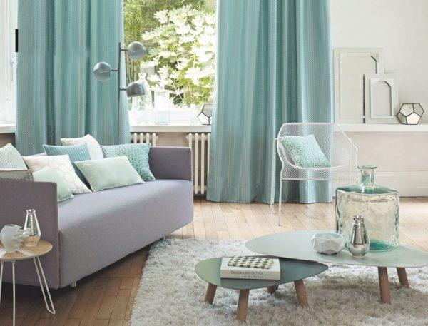 mint green and grey living room
