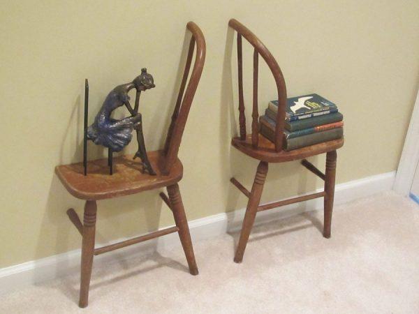 wooden chair shelf