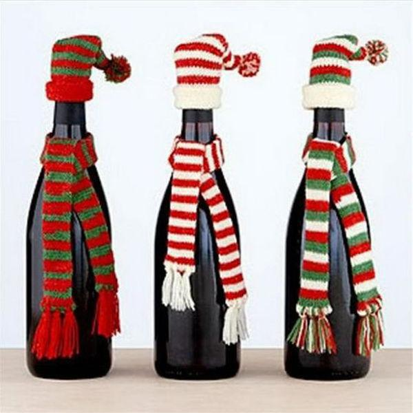 christmas wine bottle hat and scarf