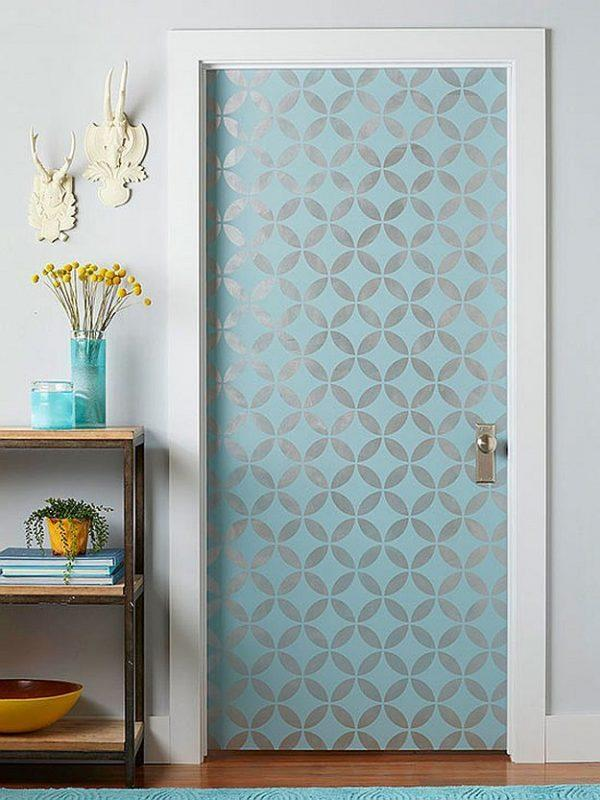 wallpapered door