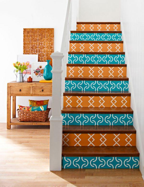 wallpapered stairs ideas