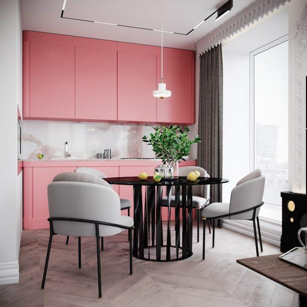 pink grey kitchen