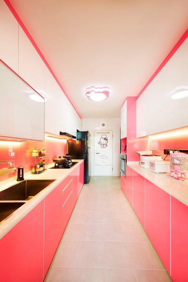 kitchen pink and white