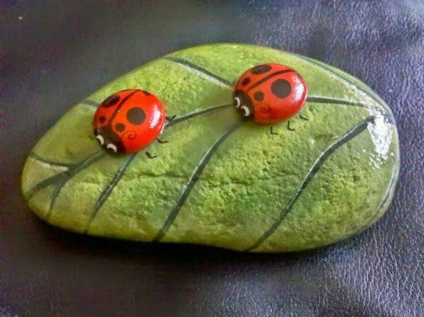 rock painting ladybug