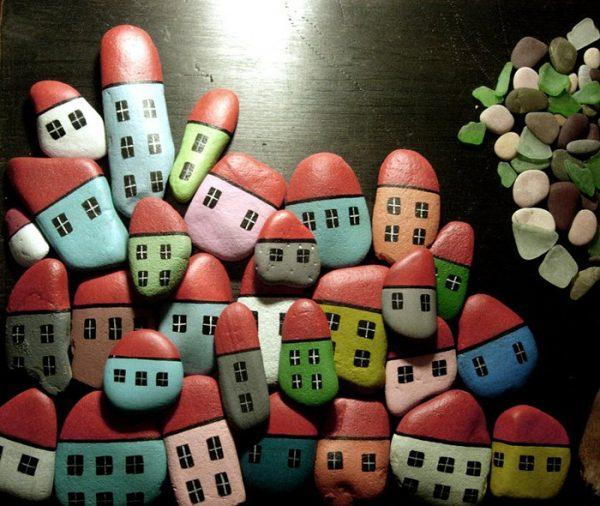 rock painting houses