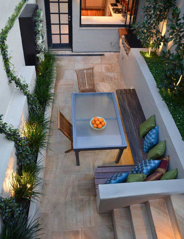 narrow back garden design