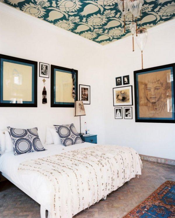 wallpaper on ceiling bedroom