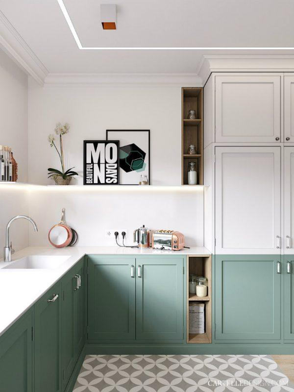 painted kitchen cabinets two tone