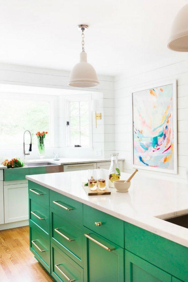 painted kitchen cabinets green
