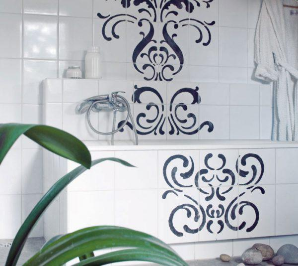 painting ceramic tile in a bathroom