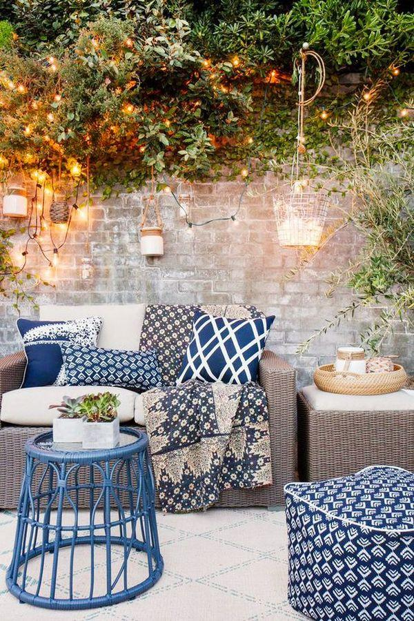 blue outdoor decor