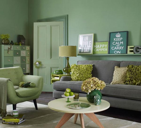 green living room color schemes