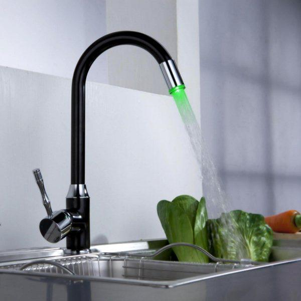 kitchen sink faucet with led light
