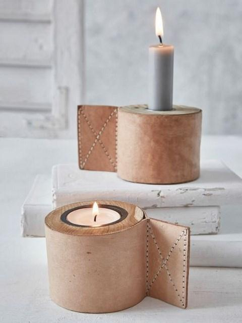 leather candle holder